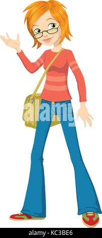 Vector illustration of a red hair teenage girl with glasses - Stock Photo