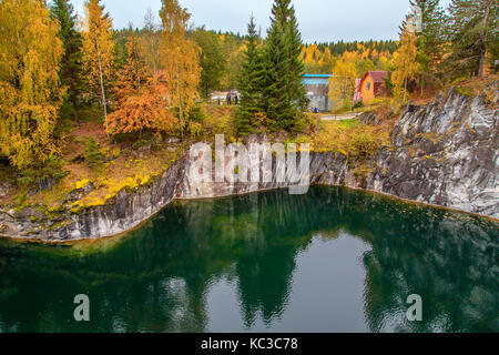 Abandoned marble canyon in the mountain park of Ruskeala, Karelia, Russia. Awesome autumn landscape. - Stock Photo