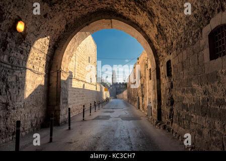 Jerusalem street in Old City, Israel. - Stock Photo
