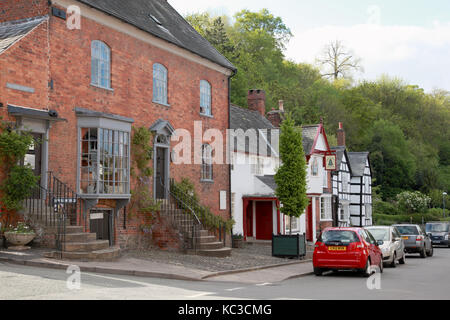 Arthur Street, Montgomery, a small town on the Welsh border amid the Shropshire hills - Stock Photo