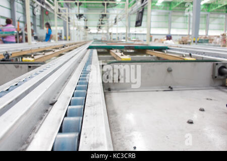 Chain Support for Pallet Conveyor line at  factory - Stock Photo