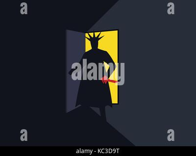 The murderer with the knife behind the door, the light from the open door. Nightmare. Halloween. Armed man retro - Stock Photo