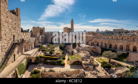 Panorama of David's tower in old city of Jerusalem - Stock Photo
