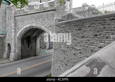 Saint Louis City Gate in Québec City, Canada - Stock Photo