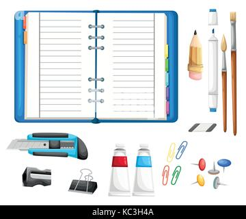 Office desk and workspace concept with flat modern icon design Illustration flat icons of trendy everyday objects, - Stock Photo