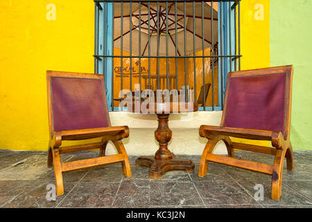 April 21, 2014 Campeche, Mexico: inviting restaurant patios popular with tourists aall through the UNESCO world - Stock Photo