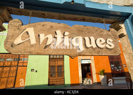 April 21, 2014 Campeche, Mexico: antiques store sign in the colonial unesco world heritage town - Stock Photo