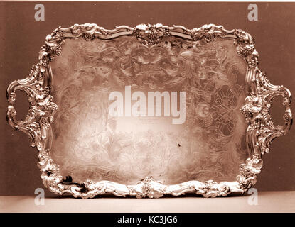 Tray, 1835–50, Made in South Yorkshire, Sheffield, England, American, Fused silver plate, 2 3/4 x 36 15/16 x 23 - Stock Photo