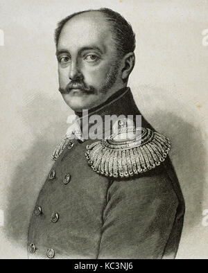 Nicholas I (1796-1855). Emperor of Russia (1825-1855). Portrait. Engraving. - Stock Photo