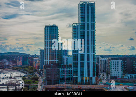 High rise tower blocks of apartments, in North Greenwich, near to the River Thames, with views into the distance, - Stock Photo