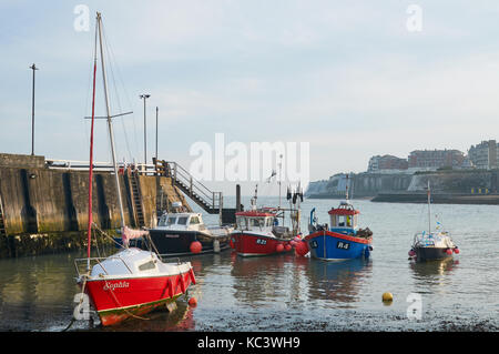Boats moored in Viking Bay, Broadstairs, Thanet, East Kent UK - Stock Photo