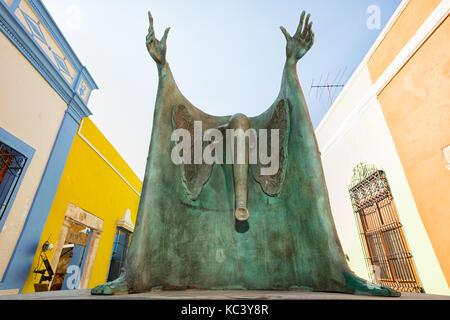 April 21, 2014 Campeche, Mexico: closeup details of a Leonora Cerrington statue on the street of the UNESCO world - Stock Photo