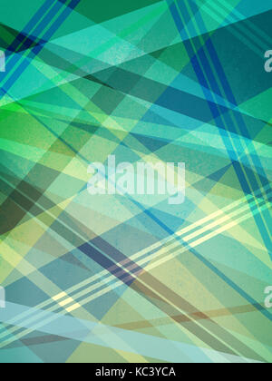 blue green yellow and white background design with intersecting lines and abstract geometric shapes in random pattern, - Stock Photo