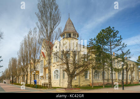 old historical district in abandoned empty city lonely streets with empty houses - Stock Photo