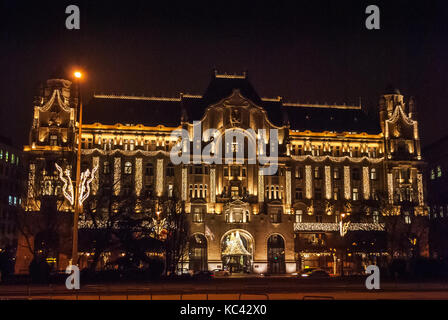 Budapest, Hungary - January 02, 2017: The Gresham Palace is a building in Budapest, Hungary, Completed in 1906 it - Stock Photo