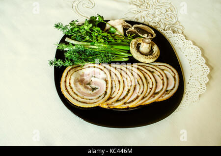 Meatloaf with acute seasonings of smoked pork tenderloin - Stock Photo