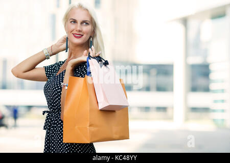 Image of model with purchases - Stock Photo