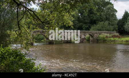 A photograph of the Essex bridge which is a  packhorse bridge over the River Trent near Great Haywood, Staffordshire, - Stock Photo