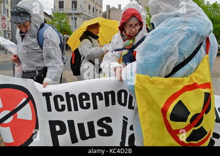Greenpeace militants celebrate the 30th anniversary of Tchernobyl nuclear disaster, Lyon, France - Stock Photo
