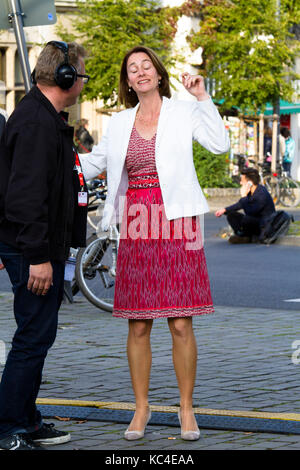 Germany, Cologne, Federal Minister of Family Affairs, Katarina Barley, SPD during an election campaign of Martin - Stock Photo