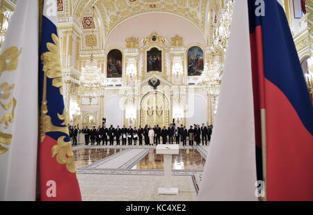 Moscow, Russia. 3rd Oct, 2017. New ambassadors to Russia wait to present their credentials to Russia's President - Stock Photo