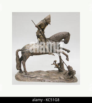 St. George and the Dragon, 14th century, possibly Italian, Silver, H. 18 in. (45.7 cm); L. 18 in. (45.7 cm), Miscellaneous - Stock Photo