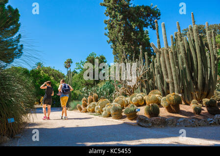 Valencia Spain botanical garden, rear view of a young couple visiting the desert plants area of the Jardin Botanico in Valencia, Spain
