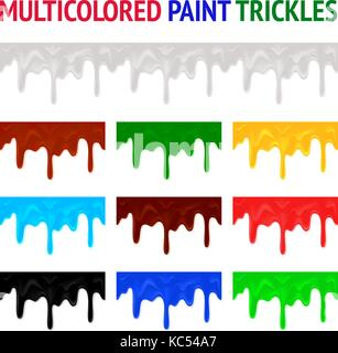 Multicolored paint trickles - Stock Photo