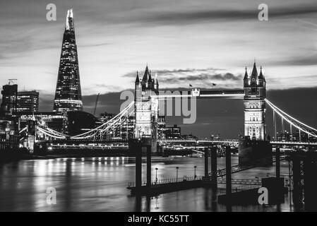 Themse, Tower Bridge, The Shard, night scene, illuminated, water view, Southwark, St Katharine's & Wapping, London, - Stock Photo