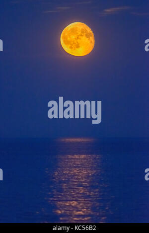 Moon over the sea, night view, Rødvig Stevns, Region Sjælland, Denmark - Stock Photo