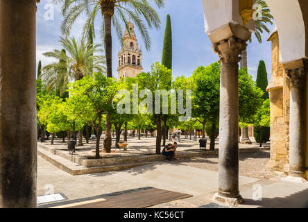 Bell tower, Patio de Naranjos, Mezquita, Catedral de Córdoba, Cordoba, Andalusia, Spain - Stock Photo