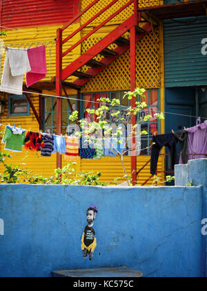 Houses in Caminito, La Boca, Buenos Aires, Argentina - Stock Photo
