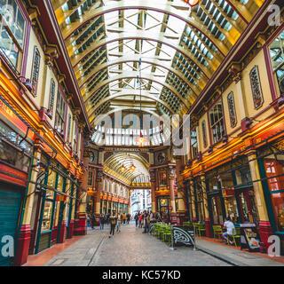 Covered market hall, shopping mall Leadenhall Market, City of London, England, Great Britain - Stock Photo