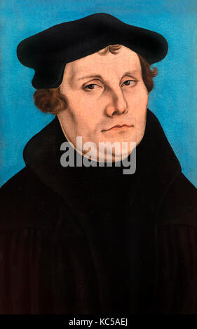 Martin Luther (1483-1546). Portrait by Lucas Cranach the Elder, oil on panel, 1529 - Stock Photo
