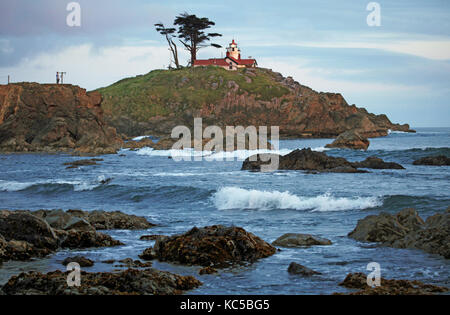 The battery Point Lightouse at Crescent City on the Northern California Coast near the southern Oregon Border - Stock Photo