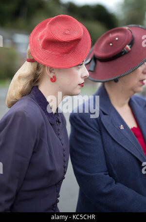 Young lady wearing 1940's vintage dress and hat, 40's weekend, 2017,Welshpool,Powys,UK - Stock Photo