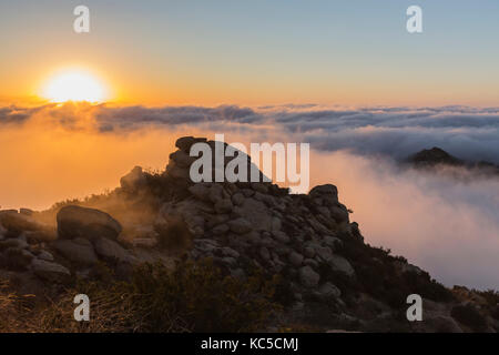 Sunrise clouds at Rocky Peak Park above the San Fernando Valley in Los Angeles, California.