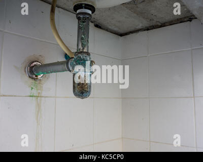 Green rust around the wash basin pipe.Dirty and germs round pipe - Stock Photo