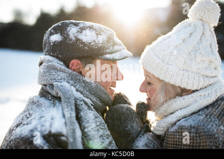 Beautiful senior couple on a walk in sunny winter nature - Stock Photo