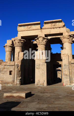 the ruins of the Kom Ombo temple on the Nile, Egypt - Stock Photo