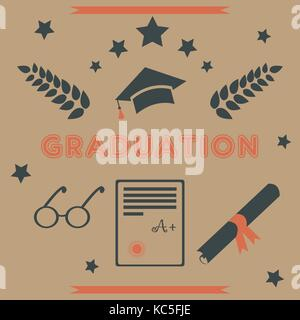 Graduation Package. Retro Design. Black and Orange icons for graduation ceremony, , postcards, greeting cards, t - Stock Photo