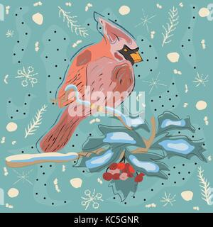 Winter Holiday Greeting Card with Cute Hand Drawn Cardinal Bird on the Rowan Tree. Pastel Blue Background with Spruce - Stock Photo