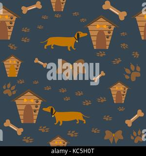 Seamless Dachshund Dog Pattern with bones, bows, dog houses and footprints. Vector Illustration - Stock Photo