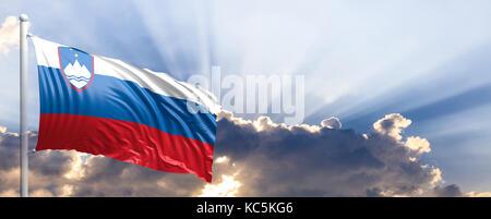 Slovenia waving flag on blue sky. 3d illustration - Stock Photo