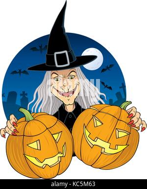 Vector illustration of a witch with two pumpkin lanterns. In the background we see a Moonlit graveyard and a couple - Stock Photo