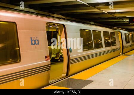 BART (Bay Area Rapid Transit) train, San Francisco, California - Stock Photo