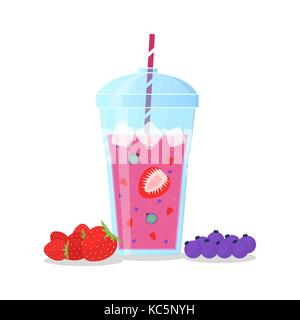 Berries mix smoothie vector illustration. Smoothie in a jug and a glass with a straw Wellness and healthy lifestyle. - Stock Photo
