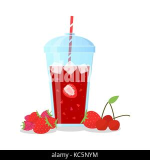 Strawberry and cherry mix smoothie in a glass jug. - Stock Photo