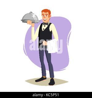 Restaurant Waiter Vector. Classic Waiter Takes The Order. Isolated Flat Cartoon Character Illustration - Stock Photo