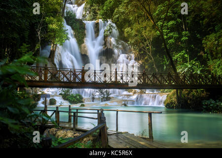 Kuang Si waterfall in Luang Prabang, Laos - Stock Photo